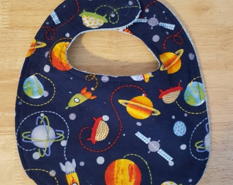 Outer space baby bib, baby bib 3-6 months, outer space baby, bib, soft bib, washable bib, baby shower gift, baby boy bib, space bib, planets