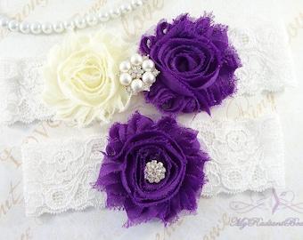 Wedding Garter Set, Bridal Garter, Belt, Shabby Chiffon Rosette Ivory Purple Garter, Sexy Garter, Handmade Garter, Wedding Garter GTF0026P