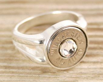 Bullet Ring, Side Split Sterling Bullet Ring, Sterling Bullet Ring, Winchester Bullet Ring, 45 Auto, 308, 30-06, 270, 243, 7mm-08, Size 7