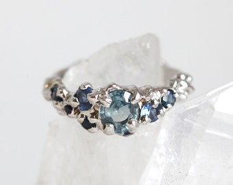 Handmade Engagement Ring, Raw Cluster Ring, Blue Sapphire Engagement Ring, Unique Blue Sapphire Ring, White Gold Sapphire Ring, OOAK Ring