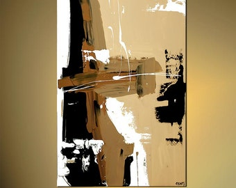 """Contemporary Abstract Acrylic Painting  Brown, White, Black, Cream by Osnat Ready to Hang 40""""  - MADE-TO-ORDER"""