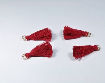BR901 - Set of 4 dark red and gold tassel charms