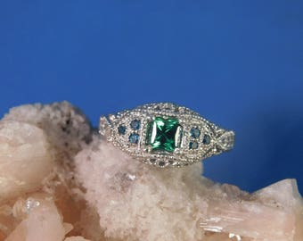0.60 Ct. Square Green Tourmaline and Blue Diamond Ring Sterling Silver