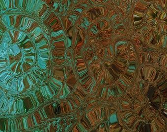 WHEELS OF TIME contemporary abstract print, brown turquoise teal wall decor, home decor
