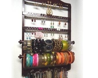 ON SALE Dark Mahogany Double Bangle Bracelet Holder, Jewelry Organizer, Oak Hardwood, Earring Organizer, Necklace Storage, Rack, Wall Mounte