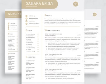 """Minimal resume / CV template for word / Two pages resume / """"Teacher resume / cv template / word resume/ Cover letter / CV"""