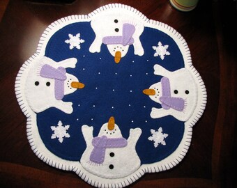 "Hand Stitched 17 Inch ""Let It Snow"" Primitive - Folk Art - Wool Felt Candle Mat - Penny Rug - Fiber Art - Wool Applique - Wool - Home Decor"