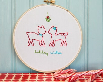 Christmas Deer Embroidery Pattern - Holiday Wishes