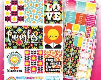 Flower Power/1960/Retro/Funky Weekly Kit, Planner Stickers, Erin Condren Vertical, Kawaii, Cute Sticker, UK