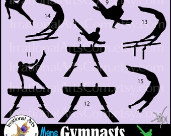 Men Gymnasts Silhouettes set 6 - 8 Vinyl Ready Images SVG & EPS 8 png clipart graphics tumbling cheer competition olympic [Instant Download]