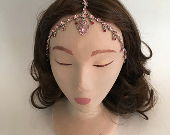 COACHELLA Silver Pink Pattern Crystal Gypsy Crown