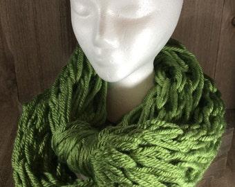 Super Bulky Arm Knit Infinity Scarf ~ Oklahoma City Green