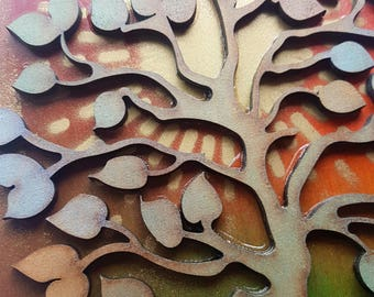 Wooden Sunrise Tree collage