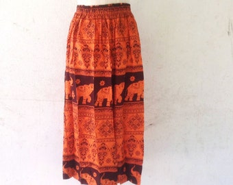 elephant long skirt free size,elastic waist