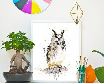 GREAT HORNED OWL *Limited Edition Giclée Print on Watercolour Paper - 300gsm.