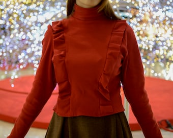Teary Rudolph red frilled sweater