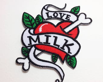Red heart patch Love Milk iron on patch