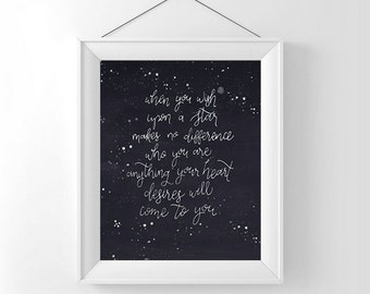 When you wish upon a star print, 8x10, printable, instant download, dark navy background, disney quote, hand lettered, nursery decor