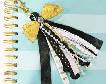 Gold, Black, and White Tassel Keychain