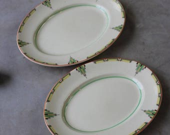 Woods Ivoryware Art Deco Oval Plates