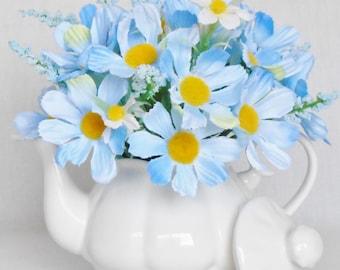 Teapot Silk Flower Arrangement, Baby Blue Cosmos, Small White Teapot, Artificial Flowers Silk Flower Arrangement, Silk Flower Home Decor,