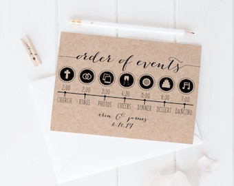 Order of Events Wedding Day Timeline Template Print, Custom Printable Wedding Schedule Card, Printable Digital, White Background, 5x7