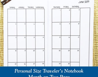 Personal Size Month on Two Page Traveler's Notebook Insert - Choose Dated or Undated