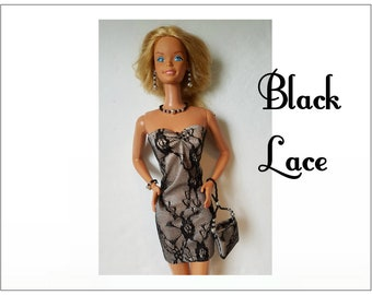 SUPERSIZE 18 in  BARBIE Doll Clothes - Black Lace Dress, Hand-beaded Purse and Jewelry - by dolls4emma