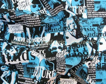C132A - 1 meter Cotton Fabric - Charming Lady and letters (blue) (145cm width)