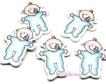 Set of 5 blue wooden babies scrapbooking.*