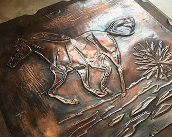 Copper Horse Reverse Engraving
