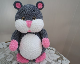 Crocheted hamster plush hamster handmade toys grey plush pet
