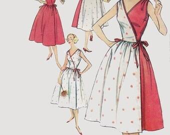 ON SALE 1950s Surplice Wrap Dress Two Tone Version Tie-Don Sundress Slenderette Sewing Pattern Simplicity 2466 50s Rockabilly Pattern 12 Bus