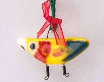 Fused glass hanging decorations -Scarlet Macaw