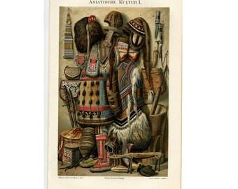 1894 ANTIQUE ASIAN peoples CULTURE lithograph original antique print