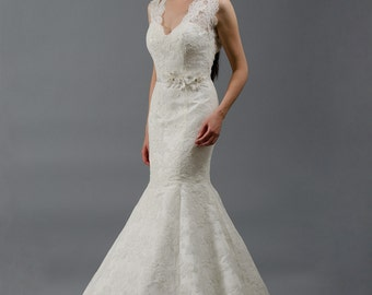 Mermaid lace wedding dress, sleeveless alencon lace with keyhole back