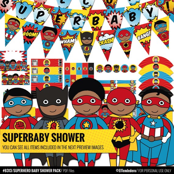 African American Superhero Baby Shower Decorations Package