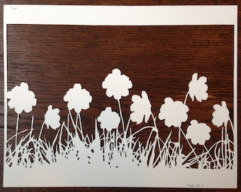 Flowers 5: Poppies -- Hand-Cut Paper Silhouette of Poppies