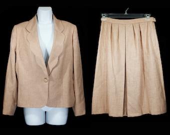Vintage 70's 2 Pcs Set of Blazer Jacket & Skirt M/L