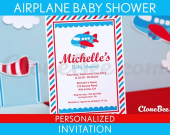 Airplane Baby Shower Invitation Personalized Printable // Airplane - S1Pa1
