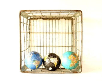 "Vintage Metal Dairy Crate / Wire Milk Crate Bottle Basket ""HASTINGS CO-OP"" (c1974) - Industrial Decor, Storage, Cubby Bench"
