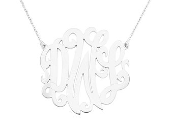 "Mono13A - Sterling Silver 1.75""  Monogram Necklace"