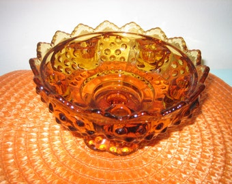 Vintage Fenton Amber Glass Hobnail Candle Holder - Saw Toothed Edge Fenton Amber Glass