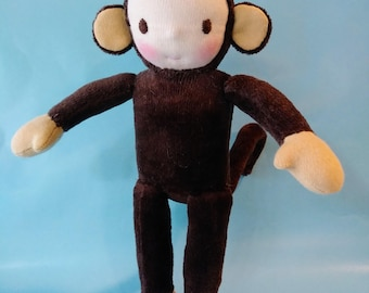 "Pocket Waldorf Costume Kid, Monkey, Steiner Doll, Waldorf Doll, Small Doll 8"", Handmade Doll, Natural Materials, One of a Kind, Gift"