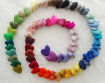 Assorted 100% Wool Felt Heart - 72 Count - approx 3cm