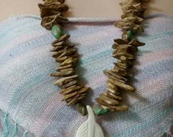 Natural Carved Bone & Bead Necklace.