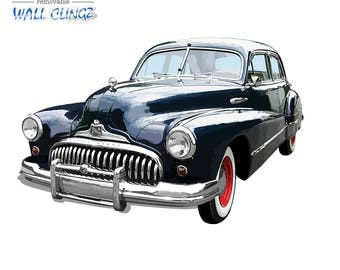 Classic Buick, Wall Graphic Decal, Man Cave Decor, Garage Wall Decor, Car Wall Stickers, Wall Decal, Wall Decals, Classic Buick Black