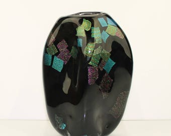 Hand blown black amorphous vase with dichroic glass accents