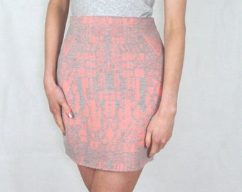 Aztec Skirt Peach and Grey