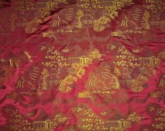 BRUNSCHWIG & FILS CHINOISERIE Peking Silk Satin Damask Fabric 10 yards Burgundy